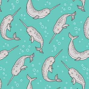 Narwhal  Grey on Green Mint Smaller