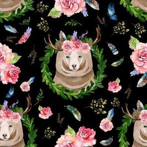 "8"" Rocky Mountain Floral Bear - Black"