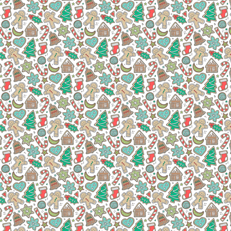 Christmas Xmas Holiday Gingerbread Man Cookies Winter Candy Treats on White Tiny Small fabric by caja_design on Spoonflower - custom fabric