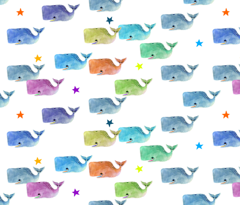 Rainbow Whale Pod with Rainbow Stars fabric by taraput on Spoonflower - custom fabric