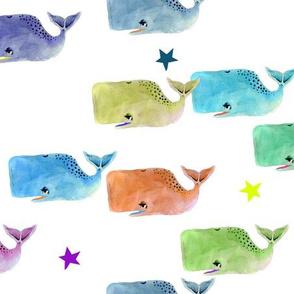 Rainbow Whale Pod with Rainbow Stars