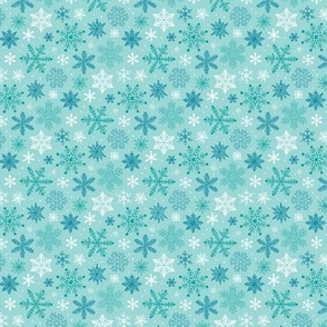 Snowflakes Christmas Blue Mint Tiny Small