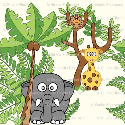 Cartoon Jungle - 6in (elephant giraffe monkey)
