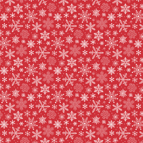 Snowflakes Christmas Holiday Red Tiny Small fabric by caja_design on Spoonflower - custom fabric