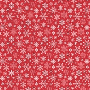 Snowflakes Christmas Holiday Red Tiny Small