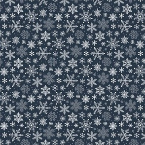 Snowflakes Christmas Holiday on Navy Blue Tiny Small