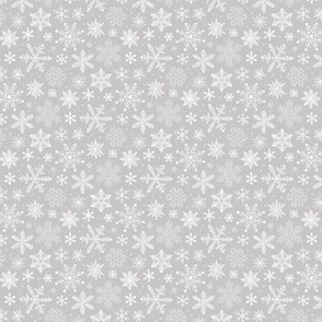 Snowflakes Christmas Holiday on Light Grey Tiny Small