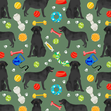 black lab dog fabric cute labrador and toys design - green fabric by petfriendly on Spoonflower - custom fabric