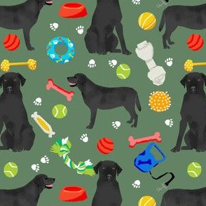 black lab dog fabric cute labrador and toys design - green