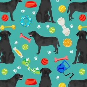 black lab dog fabric cute labrador and toys design - turquoise