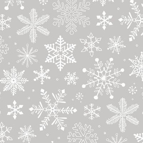 Snowflakes Christmas Holiday on Light Grey