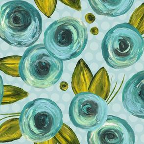 Painted Peonies - Teal