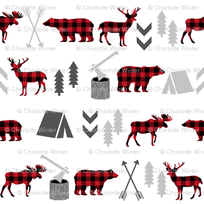 buffalo plaid woodland moose deer bear forest woodland trees camping canada kids - micro print