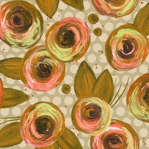 Painted Peonies Splatter - Gold & Peach