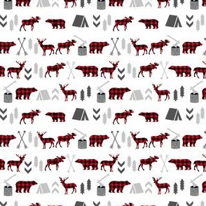 buffalo plaid woodland moose deer bear forest woodland trees camping canada kids - tiny