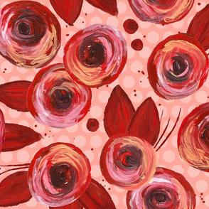 Painted Peonies Splatter - Red & Pink