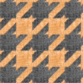 Orange and Charcoal Halloween Textured Houndstooth