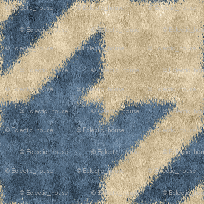 Blue and Beige Textured Houndstooth