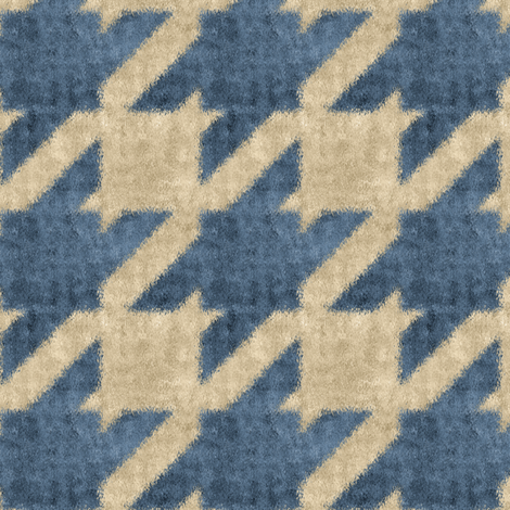 Blue and Beige Textured Houndstooth fabric by eclectic_house on Spoonflower - custom fabric