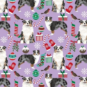 Australian Shepherd fabric christmas blue merle coat dog breeds lilac