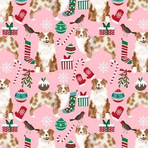 Australian Shepherd fabric christmas red merle coat dog breeds pink