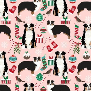 Australian Shepherd fabric christmas tri colored coat dog breeds pink