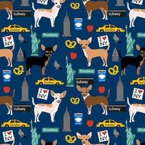 Chihuahua dog fabric New York City tourist cute pet portraits navy