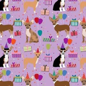 Chihuahua dog breed fabric birthday party presents purple