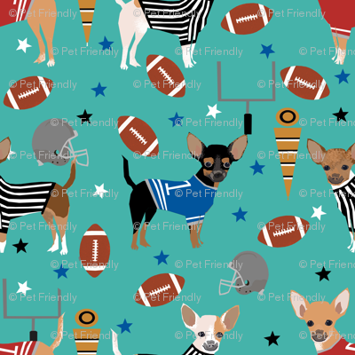 Chihuahua football sports fabric dog breeds pet lover turquoise