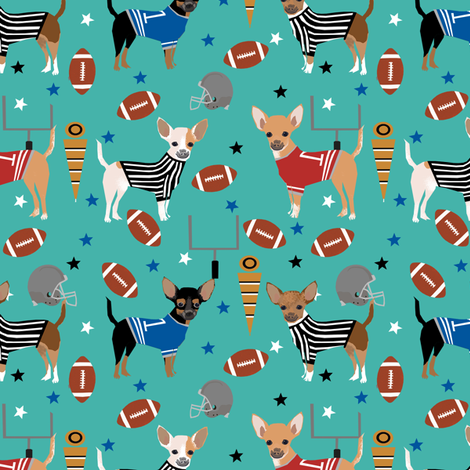 Chihuahua football sports fabric dog breeds pet lover turquoise fabric by petfriendly on Spoonflower - custom fabric