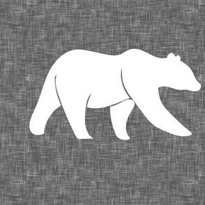 """P- 9"""" bear quilt block on grey linen"""