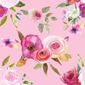 Fresh Floral watercolor rose bouquets on Pink!