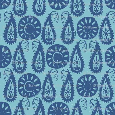 paisley block blue