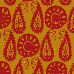 paisley block red gold