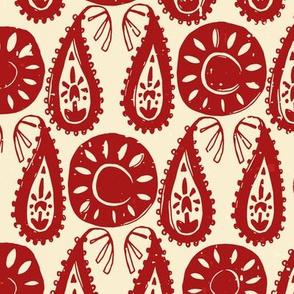 paisley block red ivory