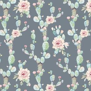 Watercolor Pastel Cactus // Gray