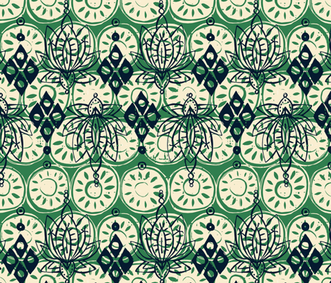 lotus diamond green fabric by scrummy on Spoonflower - custom fabric