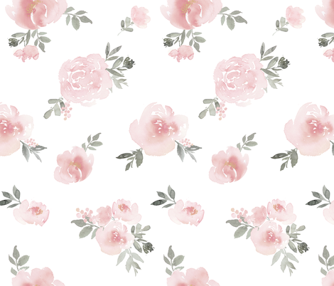 Dreamy Floral // Pink fabric by willowlanetextiles on Spoonflower - custom fabric
