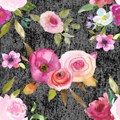 Fresh Floral watercolor rose Bouquets on Gray Grunge