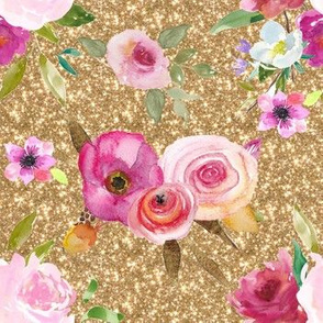Fresh Floral watercolor rose Bouquet Gold Sparkles