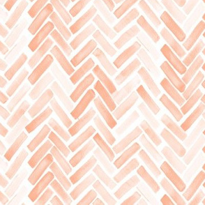 Pale blush watercolor herringbone small scale