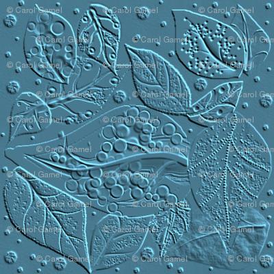 Linocut for a Block Print - cerulean blue