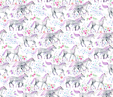 Mom and baby unicorns with pastel manes and tails on white fabric by micklyn on Spoonflower - custom fabric