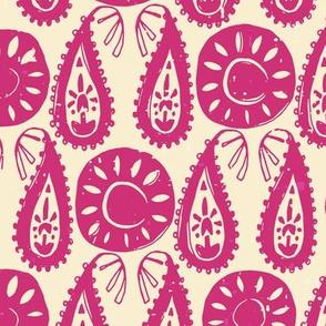 paisley block pink ivory
