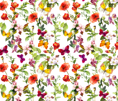 Butterfly Meadow Florals fabric by hipkiddesigns on Spoonflower - custom fabric