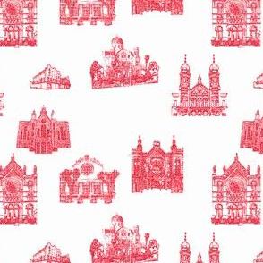 Synagogue Toile de Jouy, Red on White