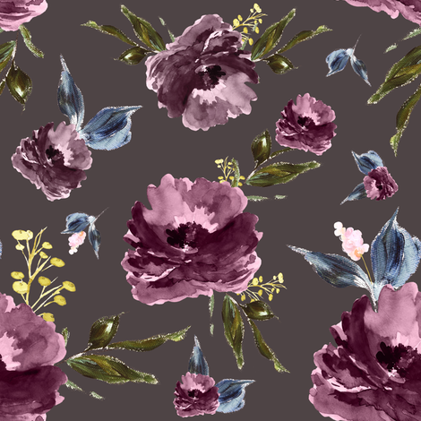 "8"" Amaranda Blooms - Deep Taupe fabric by shopcabin on Spoonflower - custom fabric"