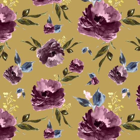 "6"" Amaranda Blooms - Gold fabric by shopcabin on Spoonflower - custom fabric"