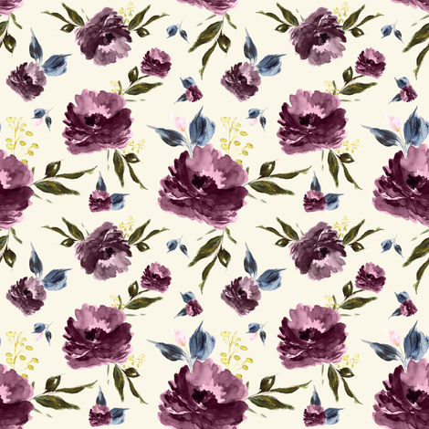 "4"" Amaranda Blooms - Ivory fabric by shopcabin on Spoonflower - custom fabric"