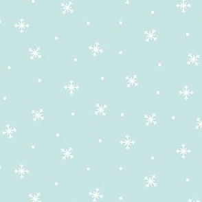 snowy flakes light teal :: cheeky christmas